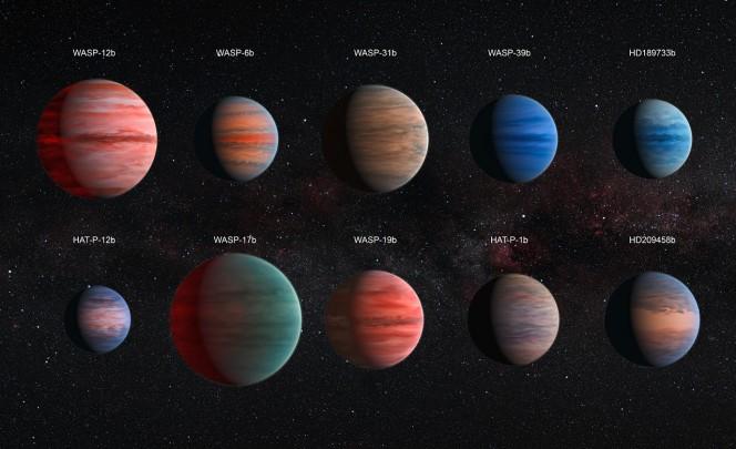 Questa immagine mostra la rappresentazione artistica dei dieci pianeti gioviani caldi studiati da David Canta e dei suoi colleghi. I pianeti sono rappresentati in scala: HAT-P-12b è il più piccolo, ed è circa delle dimensioni di Giove, mentre WASP-17b, quello più grande, è quasi il doppio. Le proprietà dell'atmosfera, con strutture che ricordano quelle visibili su Giove, sono basate su modelli teorici. Crediti: ESA/Hubble, NASA