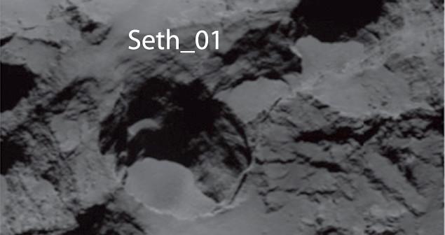 Immagine della regione Seth sulla cometa 67P Churyumov-Gerasimenko, presa nel mese di agosto 2014