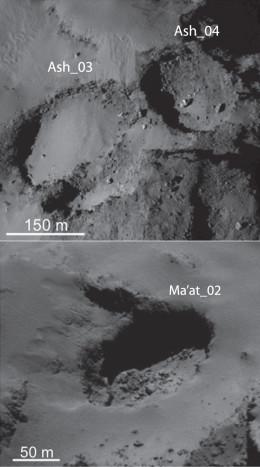 Immagini di altri pozzi nella regione di Ash e Ma'at nell'emisfero nord della cometa