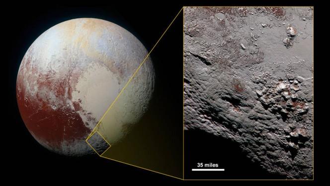 La regione dove trova il Wright Mons, nel contesto generale di Plutone. Crediti: NASA / JHUAPL / SWRI.