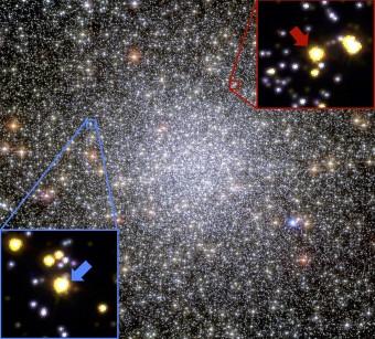 """I riquadri evidenziano due delle stelle """"pesate"""" dal team di ricercatori all'interno dell'ammasso 47 Tucanae"""