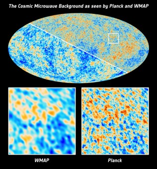 Il CMB visto da Planck e WMAP. Crediti: ESA and the Planck Collaboration; NASA / WMAP Science Team