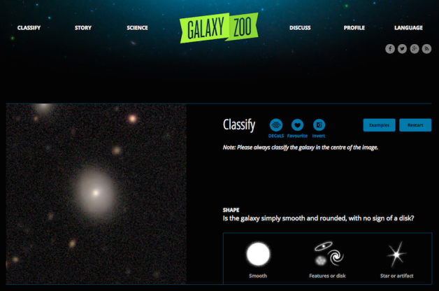 L'interfaccia di Galaxy Zoo. Crediti: www.galaxyzoo.org