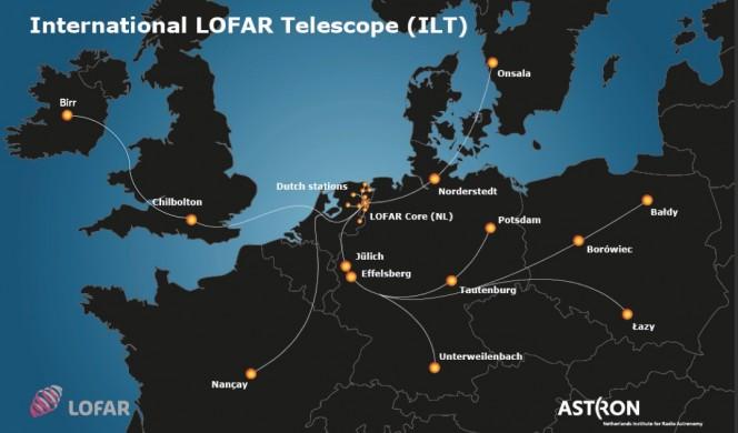 Mappa delle stazioni dell'International LOFAR Telescope (ILT). A Birr (Irlanda) la nuova stazione.