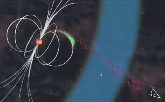 La pulsar del Granchio è una stella di neutroni (la sfera in color arancio) dotata di un intenso campo magnetico (indicato dalle linee bianche) che ruota attorno al suo asse 30 volte ogni secondo, iniettando elettroni energetici nello spazio attorno ad essa. Le zone indicate in verde e blu individuano differenti zone dove può avvenire l'accelerazione delle particelle che, a loro volta, producono fotoni di altissima energia.La regione indicata dal colore verde si trova in prossimità della magnetosfera della pulsar, mentre la zona blu potrebbe torvarsi fino a 100.000 km dalla pulsar. Crediti: Patricia Carcelén Marco