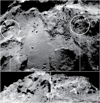 Iimmagine delle due regioni del nucleo della cometa 67P analizzate dagli scienziati. Crediti: ESA/Rosetta/NavCam