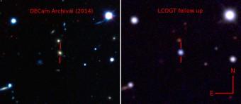 Immagine in falsi colori che mostra la galassia ospite di ASASSN-15lh prima (a sinistra nella ripresa della Dark Energy Camera) e dopo la sua esplosione (a destra, ripresa dal Las Cumbres Observatory Global Telescope Network)