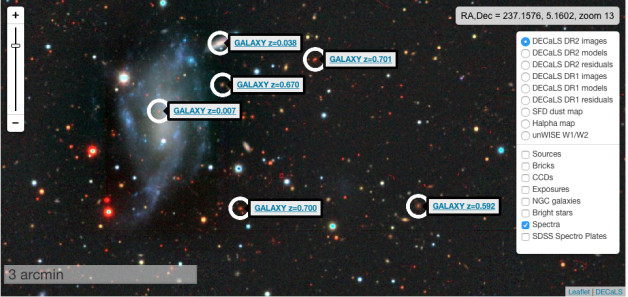 Uno screenshot del software per l'analisi immagini in remoto. Crediti: Dustin Lang / University of Toronto.