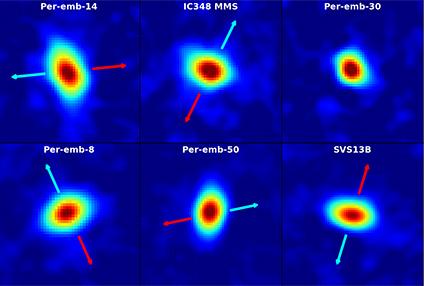 Dischi di materiale attorno a giovani stelle. Crediti: Segura-Cox, et al., NRAO/AUI/NSF