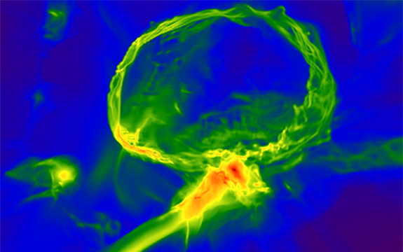 The image above shows one of the first stars exploding, producing an expanding shell of gas (top) which enriches a nearby cloud, embedded inside a larger gas filament (centre). The image scale is 3,000 light years across, and the colourmap represents gas density, with red indicating higher density. Image credit: Britton Smith, John Wise, Brian O'Shea, Michael Norman, and Sadegh Khochfar