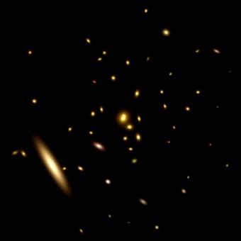 Un ammasso di galassie particolarmente denso. Crediti: Kavli IPMU