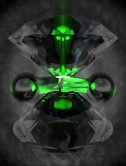 """Rappresentazione artistica di una molecola di idrogeno compressa tra """"incudini"""" di diamante opposte. Crediti: Philip Dalladay-Simpson, Eugene Gregoryanz"""