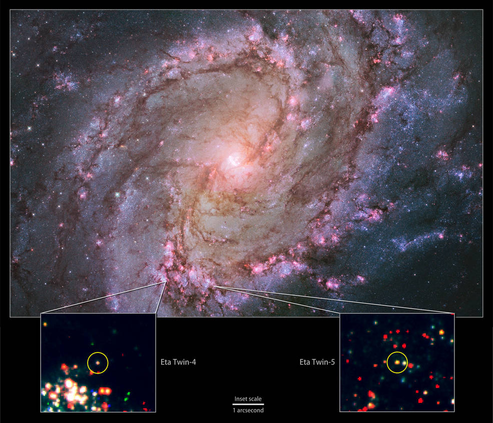 The nearby spiral galaxy M83 is currently the only one known to host two potential Eta Carinae twins. This composite of images from the Hubble Space Telescope's Wide Field Camera 3 instrument shows a galaxy ablaze with newly formed stars. A high rate of star formation increases the chances of finding massive stars that have recently undergone an Eta Carinae-like outburst. Bottom: Insets zoom into Hubble data to show the locations of M83's Eta twins. Credits: NASA, ESA, the Hubble Heritage Team (STScI/AURA) and R. Khan (GSFC and ORAU)