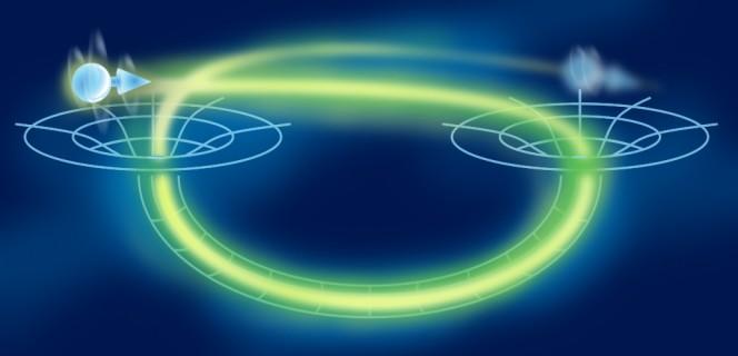Particelle che viaggino indietro nel tempo su curve spaziotemporali di tipo tempo aperte potrebbero aiutare a risolvere problemi computazionali oggi ingestibili. Per quanto tali curve non permettano alcuna interazione con il passato, un nuovo studio sostiene che il guadagno di potenza di calcolo è assicurato finché esiste una correlazione quantistica di entaglement tra la particella che viaggia nel tempo e una nel presente. Crediti: adattato da npj Quantum Information