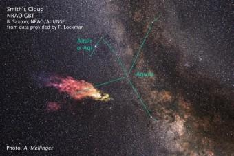 L'immagine rappresenta la posizione e le dimensioni in cielo della Nube di Smith in falsi colori. Crediti: Saxton/Lockman/NRAO/AUI/NSF/Mellinger