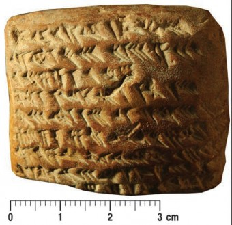 La tavoletta cuneiforme che ha fornito la chiave per decifrare i metodi geometrici per individuare la posizione di Giove. Crediti: M. Ossendrijver / Science
