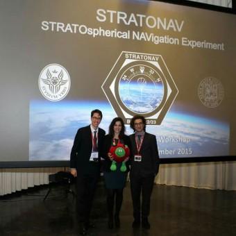 Parte del team STRATONAV alla cerimonia di premiazione degli esperimenti che hanno vinto un posto sul pallone BEXUS 22. Credits: ESA Educational