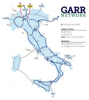 L'attuale dorsale in fibra ottica della rete dell'istruzione e della ricerca italiana. Crediti: GARR