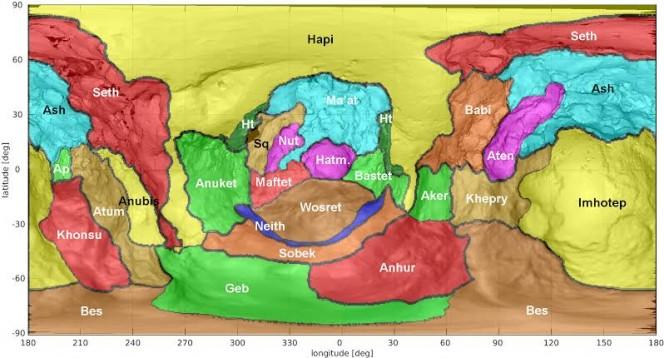 Mappa della cometa 67P che identifica i confini approssimativi delle regioni in cui è suddiviso l'emisfero sud, in seguito alla definizione delle tre nuove regioni: Bes, Geb e Meith. Crediti: ESA/Rosetta/OSIRIS/El-Maarry et al. 2016 (in preparazione)