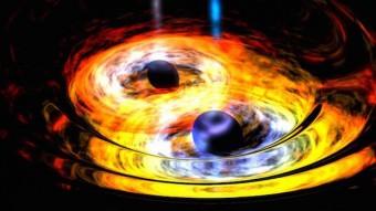 Rappresentazione artistica di un sistema binario formato da due buchi neri. Crediti: NASA