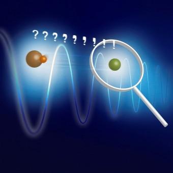Concetto di base dell'esperimento: MgH+ (arancione) e Mg+ (verde) sono bloccati insieme in una trappola ionica lineare. Il composto di due ioni viene raffreddato allo stato di moto fondamentale tramite lo ione atomico. Una forza di dipolo oscillante cambia lo stato dinamico a seconda dello stato rotazionale dello ione molecolare. Questo cambiamento può essere rilevato sullo ione atomico. Crediti: PTB