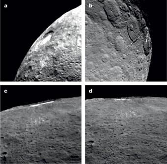 Immagini del cratere Occator (92 km di diametro). Il cratere è coperto da materiale luminoso che mostra un ciclo diurno: a mezzogiorno (a) è riempito da una diffusa foschia. Questa foschia scompare completamente al crepuscolo (b). Nelle figure radenti (c) e (d) si può vedere come la foschia rimanga confinata dentro il cratere e non si estenda nella parte sud-occidentale al di sopra della parte elevata del cratere. Crediti: Nathues et al., Nature, 2015
