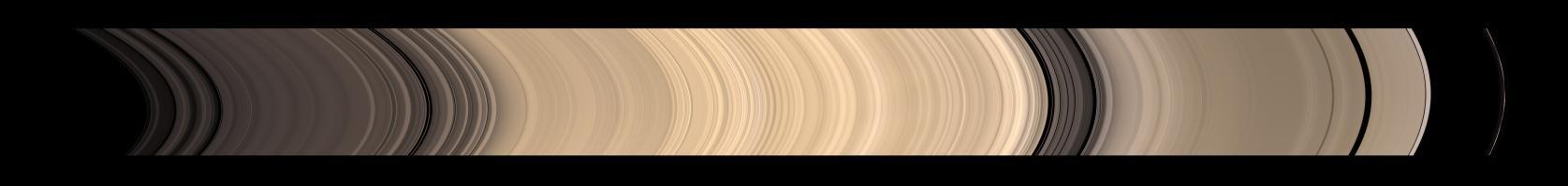 Una vista panoramica del sistema di anelli principali di Saturno. Crediti: NASA/JPL-Caltech/Space Science Institute