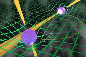 Nell'illustrazione, due pulsar che orbitano una attorno all'altra, come accade nel sistema PSR J0737-3039. Crediti: Michael Kramer, dell'Università di Manchester