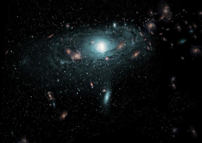 """Illustrazione di come potrebbero apparire le numerose galassie rintracciate per la prima volta nella cosiddetta """"zona da evitare"""" del cielo, basandosi sulle loro posizioni reali relativamente alla nostra galassia. Crediti: ICRAR"""