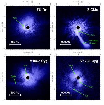 Le immagini raccolte dal telescopio da 8.2 metri Subaru per i quattro oggetti selezionati. Le asimmetrie significative, tipiche dei dischi gravitazionalmente instabili, sono indicate da frecce. Crediti: Eduard Vorobyov, Università di Vienna