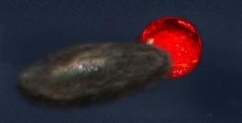 Illustrazione del sistema binario TYC 2505-672-1, la coppia di stelle che produce le eclissi più lunghe che conosciamo. Crediti: Jeremy Teaford/Vanderbilt University