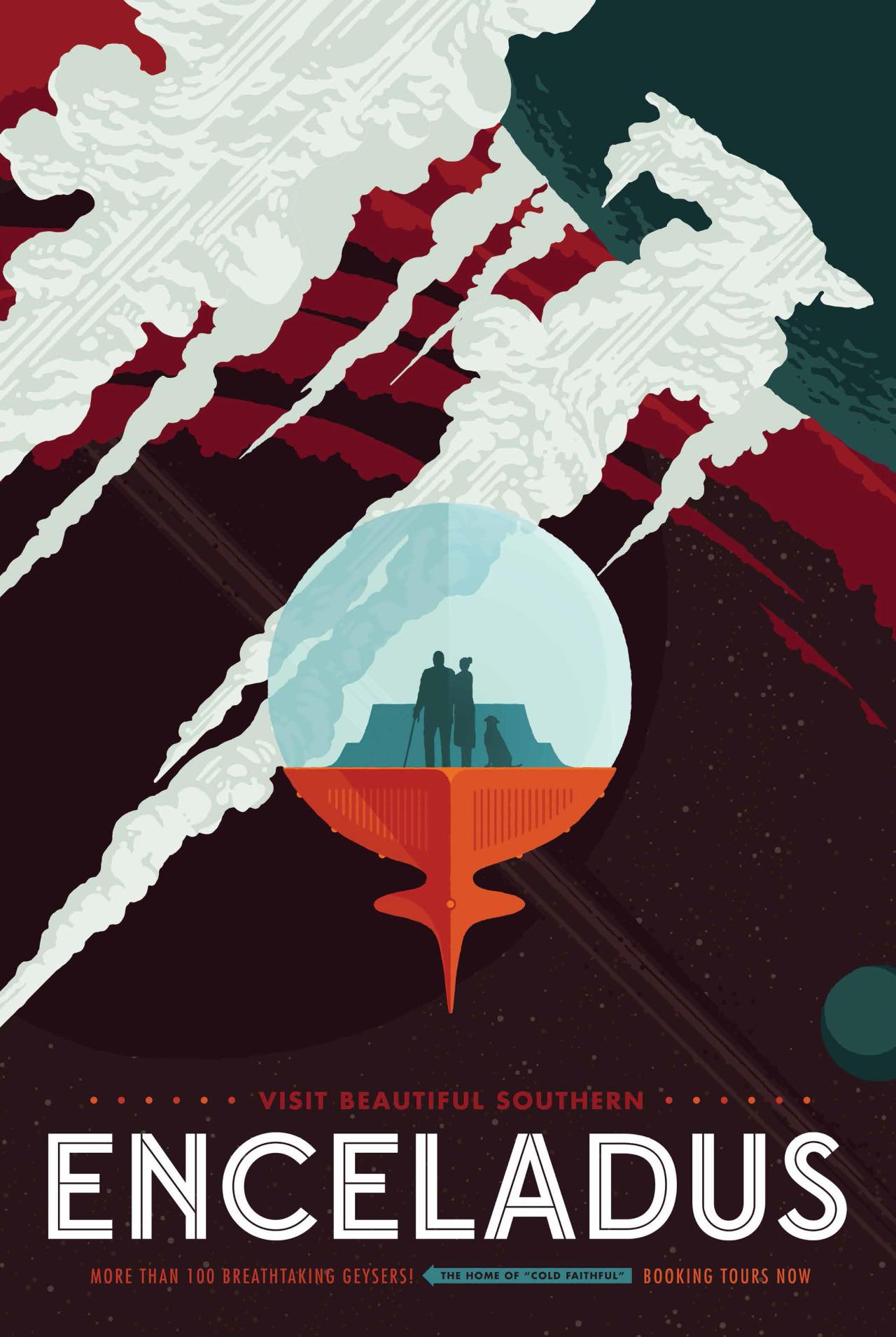 LA SPA DI ENCELADO.La scoperta degli enormi getti di ghiaccio dalla superficie della luna di Saturno Encelado, e il ruolo da loro ricoperto nella formazione dell'anello E del pianeta, è uno dei migliori risultati della gloriosa missione Cassini sul Signore degli anelli. È grazie alla sonda che sono state raccolte le evidenze di un oceano sotterraneo e i primi segni di una potenziale attività idrotermale. Se avete bisogno di un buon bagno e volete fare la cura delle acque la vostra vacanza comincia qui. Crediti: NASA