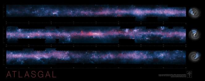 La zona meridionale del piano della Via Lattea dalla survey ATLASGA. Crediti: ESO/APEX/ATLASGAL consortium/NASA/GLIMPSE consortium/ESA/Planck