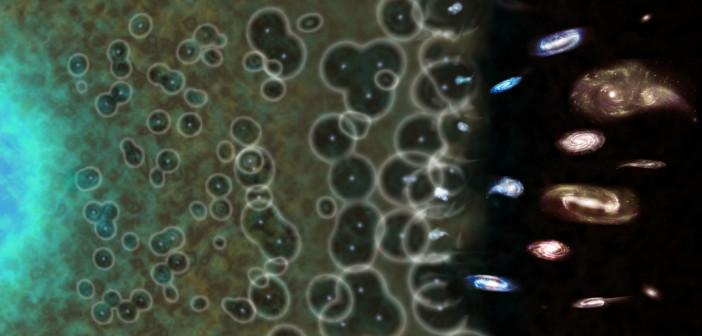 """Un'impressione di artista dell'evoluzione del nostro universo, dal Big Bang (sulla sinistra) ai giorni nostri (sulla destra). L'evidenza suggerisce che il processo di ionizzazione sia stato innestato a partire da """"bolle"""" irregolari prima di diventare trasparente alla luce, come lo è oggi. Crediti: NASA / CXC / M.Weiss"""