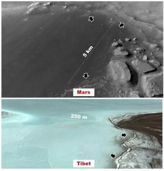 In alto, il fondo del bacino dove laghi poco profondi potrebbero essersi formati nelle ultime decine di milioni di anni. In basso, un lago d'alta montagna - che potrebbe presentare analogie con quelli marziani - nell'altopiano tibetano, dove Rodriguez condurrà la prossima estate uno studio sul campo
