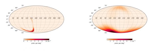 Mappa celeste con la localizzazione dei raggi gamma rilevati da Fermi (a destra) e della sorgente di onde gravitazionali rilevata dai due interferometri di LIGO (a sinistra). Crediti: Connaughton et al. The Astrophysical Journal