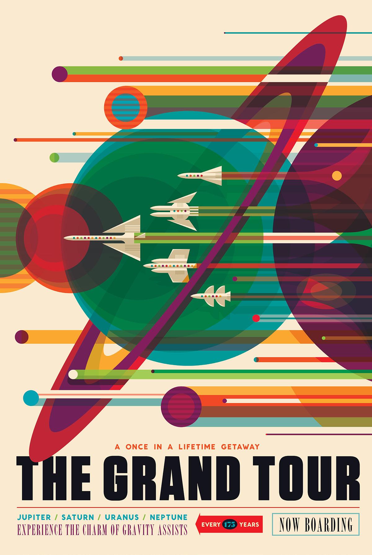 SISTEMA SOLARE, IN LUNGO E IN LARGO.Per giovani curiosi e rampolli della borghesia ottocentesca si raccomanda il Gran Tour Voyager: un viaggio ai confini della conoscenza. La vostra vita non sarà più quella di prima. Lancio imperdibile: l'allineamento si verifica ogni 175 anni e complice il filotto di fionde gravitazionali potrete raccogliere immagini mozzafiato da Giove a Saturno, fino a Urano e Nettuno. Il viaggio fra una tappa e l'altra, bisogna ammettere, è un po' lunghetto. Portatevi qualcosa da leggere. Crediti: NASA