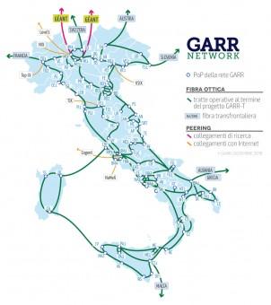 Lo sviluppo geografico previsto dal progetto GARR-T. Crediti: GARR