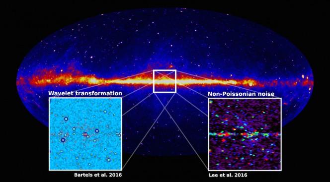 La Via Lattea in raggi gamma vista dal satellite della NASA Fermi. I risultati di due analisi statistiche indipendenti (nei riquadri) hanno dimostrato che la distribuzione dei fotoni è disomogenea, non diffusa, suggerendo così che sia improbabile che all'origine dei raggi gamma in eccesso dal centro della nostra galassia vi sia l'annichilazione della materia oscura. Crediti: Christoph Weniger, UVA / Princeton