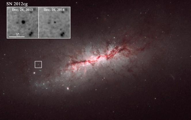 Un'immagine scattata dal telescopio spaziale Hubble della galassia NGC 4424, che si trova a circa 50 milioni di anni luce di distanza da noi. Nei riquadri due zoom di SN 2012cg, una supernova di tipo Ia osservata a circa un anno di distanza. Crediti: NASA/Hubble Space Telescope