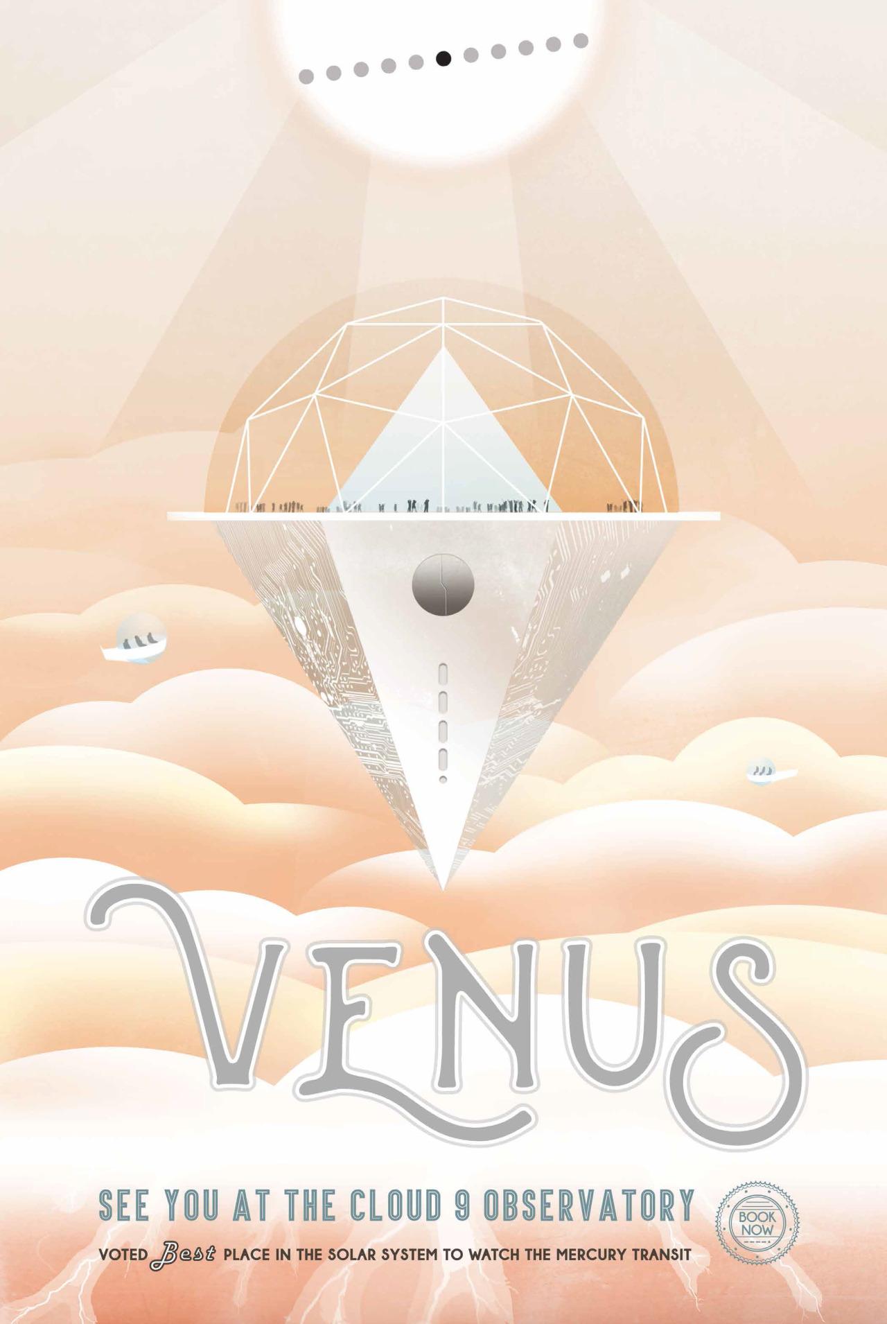 BELVEDERE VENERE.Vola nel Pacifico meridionale sulle tracce di James Cook e scopri la rara opportunità di osservare un transito planetario di Venere e Mercurio sul disco solare. Non ti basta? Sali a cavallo di una sonda spaziale e parti alla volta delle località più esotiche del Sistema Solare. Il meteo continua a segnalare una densa coltre di nubi attorno a Venere. Terribili sbalzi termici su Mercurio, si raccomanda una protezione solare totale per evitare spiacevoli bruciature. Crediti: NASA