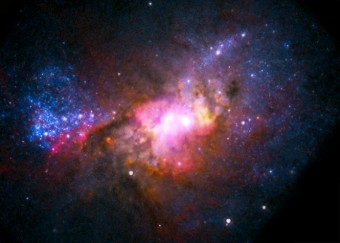 Immagine composita di Henize 2-10, una galassia nana a 30 milioni di anni luce da noi, dove la formazione di nuove stelle (in blu) avviene con una frequenza prodigiosa. Crediti: raggi X: NASA/CXC/Virginia/A.Reines et al; radio: NRAO/AUI/NSF; ottico: NASA/STScI