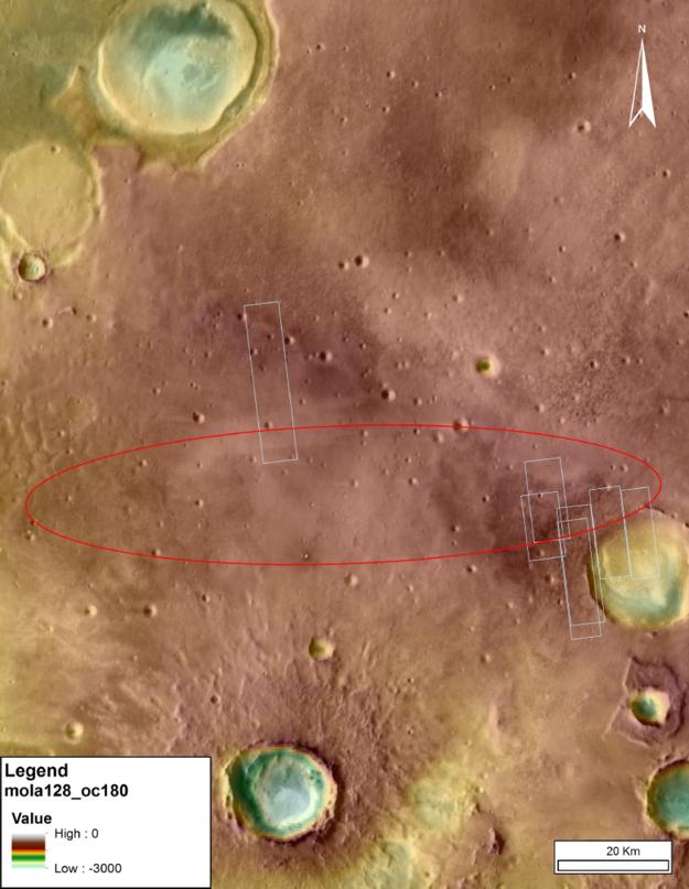 Mappa topografica realizzata dal Mars Orbiter Laser Altimeter (MOLA), uno strumento sul Mars Global Surveyor (MGS). Crediti: IRSPS/TAS-I
