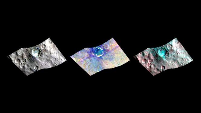 Il cratere Haulani nell'infrarosso. Riprese del cratere Haulani su Cerere ottenute dal Visible and InfraRed mapping spectrometer (VIR), lo strumento italiano a bordo della sonda Dawn della NASA. Queste viste rivelano, da sinistra a destra, variazioni nella brillantezza, mineralogia e temperatura della regione nelle lunghezze d'onda dell'infrarosso. Crediti: NASA / JPL-Caltech / UCLA / ASI / INAF