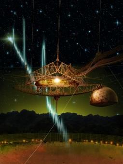 Un dettaglio del radiotelescopio di Arecibo e del suo collettore focale sospeso che ospita numerosi ricevitori.  Sovrapposto, il profilo di alcuni degli impulsi radio in sequenza, Fast Radio Burst, captati nel novembre del 2015. Crediti: Danielle Futselaar