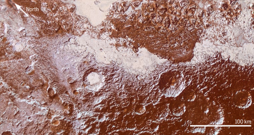 Enhanced color view of Pluto's surface diversity.This mosaic was created by merging Multispectral Visible Imaging Camera color imagery (650 m per pixel) with Long Range Reconnaissance Imager panchromatic imagery (230 m per pixel). At lower right, ancient, heavily cratered terrain is coated with dark, reddish tholins. At upper right, volatile ices filling the informally named Sputnik Planum have modified the surface, creating a chaos-like array of blocky mountains. Volatile ice occupies a few nearby deep craters, and in some areas the volatile ice is pocked with arrays of small sublimation pits. At left, and across the bottom of the scene, gray-white CH4 ice deposits modify tectonic ridges, the rims of craters, and north-facing slopes.