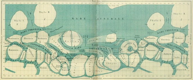 Mappa di Marte realizzata da G. Schiaparelli nel 1877.