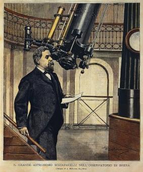 Schiaparelli nell'osservatorio astronomico di Brera in un disegno di Achille Beltrame per La Domenica del Corriere del 28 ottobre 1900.