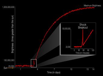 Il diagramma illustra il profilo di luminosità di un evento di supernova riferito a una scala dove 1 è la luminosità emessa dal Sole. Nell'inserto è mostrato l'effetto dell'onda durto, che dura in tutto circa 20 minuti. Grazie allo sguardo costante del telescopio spaziale Kepler della NASA è stato possibile vedere in diretta questo flash emesso dalla stella KSN 2011D. Crediti: NASA Ames/W. Stenzel