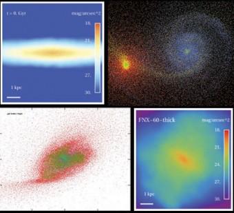 """Collage di simulazioni al computer dell'interazione tra una galassia nana e un """"blob"""" satellite invisibile, composto di sola materia oscura. Crediti: T.Starkenburg, A.Helmi"""